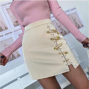 High Waist Black PU Skirt Women Short Faux Leather Pencil Skirt Female White Red Wrap Sexy Split Mini Skirt C1103