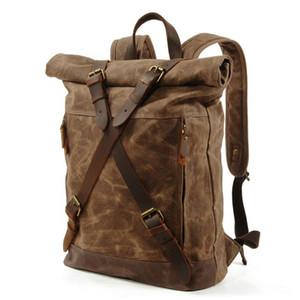 Жоль новых роскошных старинных холстовские рюкзаки для мужчин нефть воск холст кожаный туристический рюкзак большие водонепроницаемые дневные дни ретро bagpack