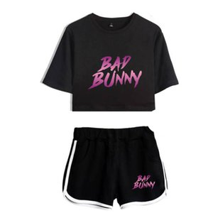 Summer Track Suit Women 2 Piece Set Bad Bunny Crop Top Shorts Two Piece Outfits Casual Ladies Tracksuit Sportwear Twopiece