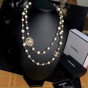 kutu ücretsiz kargo 101.544 ile Sun Flower İnci Kolye 2020 Yeni Bayanlar Triko Zinciri Moda Parti Malzemeleri