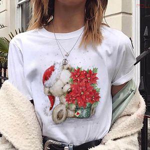 Merry Christmas Printed Women T shirts Lovely Bear T Shirt Harajuku Cartoon shirt Female Suitable All Seasons Short Sleeve Tee