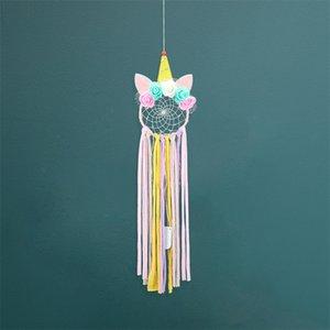 유니콘 공중 펜던트 귀여운 소녀 스타일 Dreamcatcher 수제 편집 멀티 컬러 철 반지 컬러 조명 Dreamcatchers 14 5ms L1