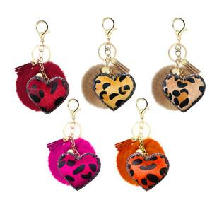 Leopard Heart Pom Fur Ball Keychain Cute Leather tassel Keyring Fashion Soft Keyholder Accessories Cars