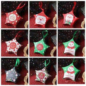 Star Cadeaux Boîtes cadeaux Christmas Creative Cadeaux Boîtes à pendaison Corde Card Sacs Noël Candy Box Santa Claus Boîtes De Paper Boîtes Design Dhc4245