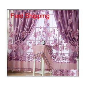 Hot Sale 250cmx100cm Print Floral Voile Door Curtain Window Room Curtain Divider Scarf Fashion jllgOC bdebag