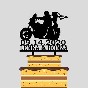 Personalized Motorbike Wedding Cake Topper Custom Couples Name Wedding Date Bride and Groom Riding Motorcycle Cake Topper YC217