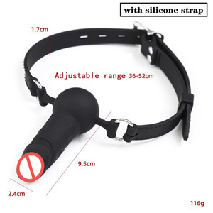 Black color Silicone Soft Dildo Gag with Adjustable strap Mouth Gags sex toy for women men adult toys Oral sex Bondage SM sex toys