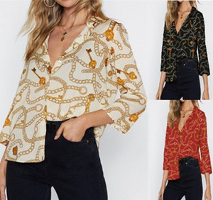 New Arrival Womens Clothing Blouses & Shirts Curb Chain Printed Lapel Seven Sleeves Loose Shirt Size Shirt S-3XL