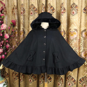 Womens Girls Lolita Wool Blend Ears Hooded Cape Riffle Bow Cosplay Coat Cute Sweet Cloak Outwear Ponchos Long Halloween