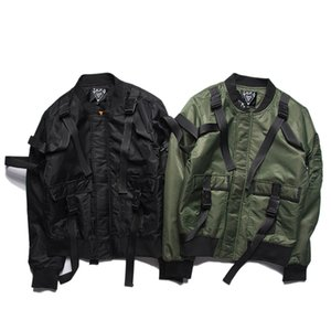 Hip Hop Punk Clothes Strap Motorcycle Cargo Safari Top Coats Streerwear Pilot Air Bomber Jacket Men