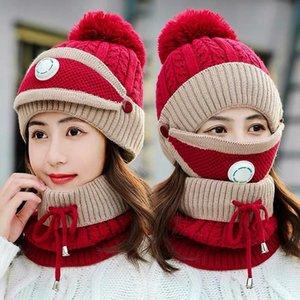 3pcs winter knit bobble women hat girls ear warm fur pom pom acrylic ski caps mask scarf set with breathing valve