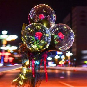 LED Luminous Balloon Rose Bouquet Transparent Bobo Ball Rose Valentines Day Gift Birthday Party Wedding Decoration Balloons HWB3799