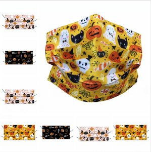 Child Halloween Disposable Mask Meltblown Cloth 3-layer Face Masks Personalized Printing Pumpkin Breathable Mouth Cover LJJP583