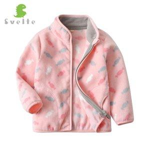 Svelte для 2-9 Yrs Симпатичные Малыш и малышей девушки розовый флис куртка для Весна Осень зимней одежды с печати шаблон 0930