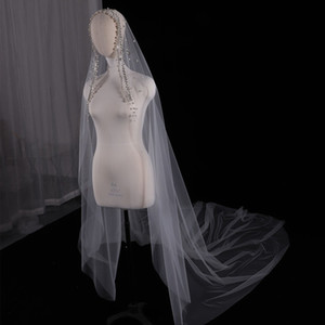 3 Meters Wedding Veil with Pearls Crystals Beaded Wedding Accessories One Layer voile mariage welon