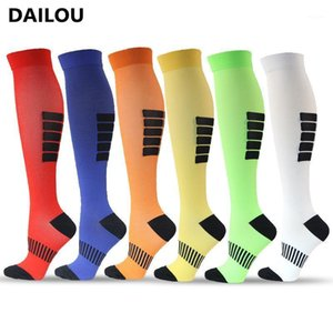 2021 New Sports Compression Socks Men Women Travel Running Cycling Socks Colorful Stripes Pain Relief Nursing Compression1