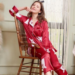 Fashion red women home wear lovely pig spring pajamas set rayon sleepwear suit long-sleeved autumn ladies home suits1
