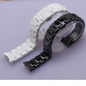 High quality Watchband White black ceramic with silver buckle deployment accesssories fit ar 1400 1410 watch 22mm curved ends special new