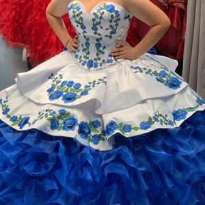 Charming Off the Shoulder Embroidery Ball Gown Quinceanera Dresses With Big Bow vestidos de 15 años Corset Back Sweet 16 Dress