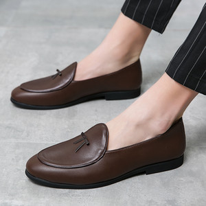 Mens Leather Flats Black Driving Moccasins Summer Slip On Mens Footwear Brand Sperry Social Shoes outdoor tassel party shoes men