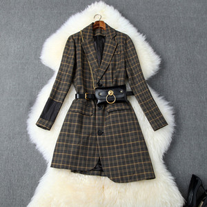 2019 Fall Autumn Long Sleeve Notched-Lapel Glamorous Plaid Print Belted Asymmetry Single-Breasted Fashion Blazers Outwear Coats O06T10244