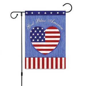 Amerika Ulusal Bayrak Aşk Kalp Keten Çizgili Temizle Banner 2020 Beş Sivri Star Trump Bahçe Bayrakları Avlu Dekorasyon Sıcak Satış 6YY F2