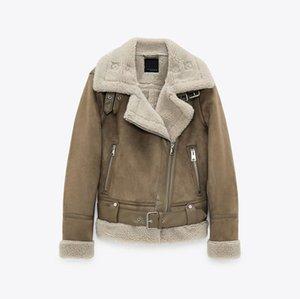 2021 Nuevo desgaste de las mujeres grueso cálido invierno retro gamuza corderos lana chaqueta de motocicleta cinturón ocio suelto chaquetas de cuero hecho por el hombre