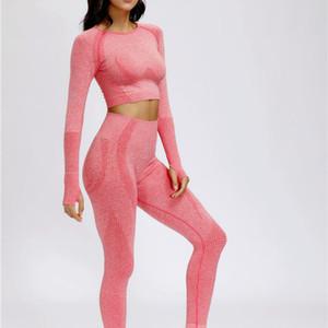 Seamless Yoga Suit 2 piece Sports Shirts Crop Top Seamless Leggings Sport Set Gym Clothes Fitness Tracksuit Workout Set Femme C0121
