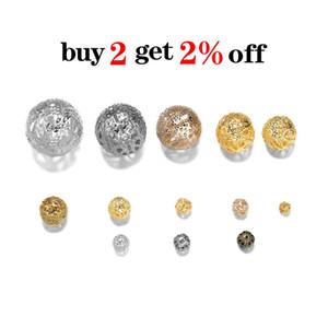 10 200pcs Lot 4 20mm Gold Métal Round Spacer Beads Perle creuse en filigrane pour bricolage Bracelet Collier Collier Bijoux Fournitures H Jllbsh
