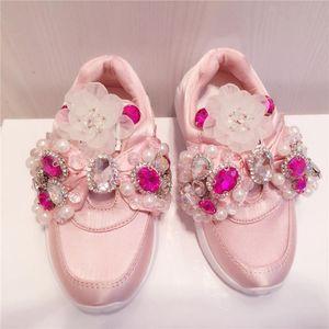 Handmade Rhinestone Girls Shoes Diamond Sequins Beaded Silk Casual Shoes Bow Ribbon Childrens