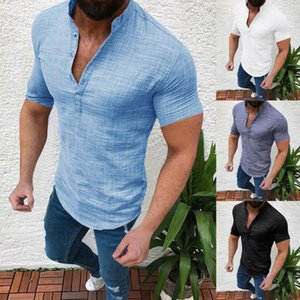 S-2XL Men's Casual Blouse Cotton Linen shirt Loose Tops Short Sleeve Tee Shirt Men Clothing Soft Comfortable Men's