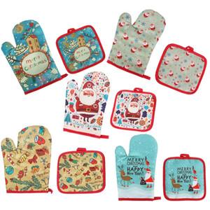 Moda Pişirme Eldiven Pad Fırın Eldiveni Merry Christmas Dekorasyon Yalıtım Pad Mat Mutfak Aletleri 5 Renkler HH9-3720