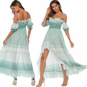 Trajes de baño para mujer Trajes de playa Faldas de playa Tops Drapes Sin tirantes Manga corta Irregularidad Camisola Vestido de niña Slim New