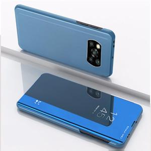 Electroplating Mirror Flip Stand Case For Xiaomi Poco X3 NFC Mi 10 Ultra CC9 A3 Lite Redmi Note 9S Redmi 9C 9A PocophoneF1