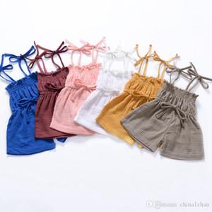 Kids Designer Clothes Girls Sling Rompers Solid Color Toddler Suspender Jumpsuits Summer Baby Clothing 6 Colors Wholesale DHW3705