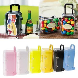 5 Colors Mini Rolling Travel Suitcase Favor Box Wedding Favors Party Reception Candy Package New Year Party Supplies Decoration