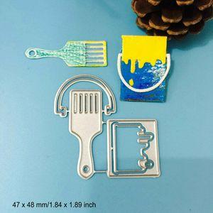 Paint Bucket Brush Cutting Dies Metal Stencil DIY Scrapbook Card Album Paper Embossing Die Cut Decor Art