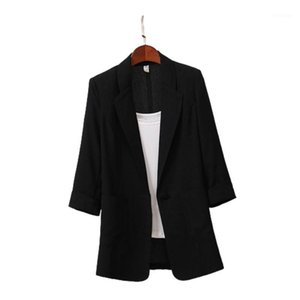 Mishky Women Blazer Blazer Solid Color Summer Spring Coat Cotton Biancheria in cotone Medio Lungo Slipa Giacca Femmina Top New1