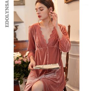 Sexy Home Robe Nightdress Sleep Lounge Tête de nuit Femme 2021 Nightgowns Sleepshirts Solid Heightwear H3801