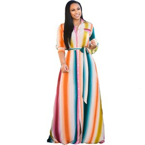Plus Size Women Spring Printed Lapel Neck Long Single Breasted Loose Maxi Dresses with Sashes