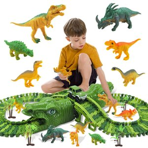 153pcs set Children Electric Rail Car DIY Changeable Assembled Building Block Tracks Over Dinosaur Hill Toy Gift