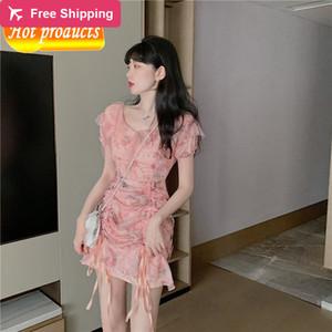 2021 New Vero Com Decote Em Floral Feminina Fada Moda Tnica Cintura Fina Cordo Curto Manga Curta Rosa Chiffon Vestido AN8O