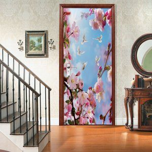 Floral Flower Door Sticker Modern Design Natural Scenery Self Adhesive Mural Doors Wallpaper Living Room Home Decor Deursticker