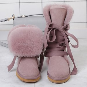 Hot Sale-Fashion 100% Natural Fur Winter Boots for Women High Boots Genuine Sheepskin Leather Snow Warm Wool Long Shoes