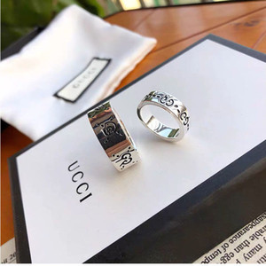 G 패션 럭셔리 높은 품질의 브랜드 고급 실버 두개골 연인 디자이너 반지 상자 선물로 반지를하기 Fors 여자 남성 쥬얼리 웨딩 스탬프