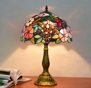 Garden grape retro lamp European style creative Tiffany stained glass living room dining room bedroom bedside table lamp bar lamp