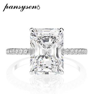 PANSYSEN real prata esterlina 925 Emerald Cut Criado Moissanite diamante anéis de casamento para as mulheres Luxo Proposta anel de noivado 201006