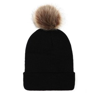 Fashion Adult Women Keep Warm Winter Fur Ball Knitted Wool Beanie Hemming Hat Cap Hats For Women Pullover Caps bonnet hiver