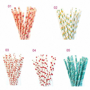 25Pcs Colorful Strawberry Pineapple Watermelon Apple Drink Paper Straws for Kids Birthday Wedding Supplies Party Drinking Straw g6Pm#