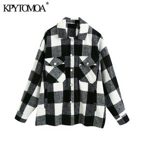 KPYTOMOA Mulheres Moda Oversized Plaid Jacket Brasão Vintage manga comprida Pockets Feminino Casacos Chic Tops 201013